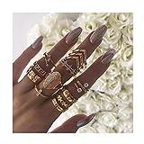IYOU Juego de anillos vintage de piedras preciosas de cristal plateado para nudillos, anillos bohemios, anillos medianos para mujeres y niñas (11 piezas)