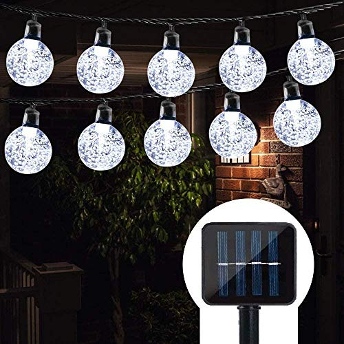 A-Generic Solar garden lamp, 50 crystal ball waterproof LED fairy lamp 8 models Outdoor solar light, family, garden, party, holiday decoration lighting-White