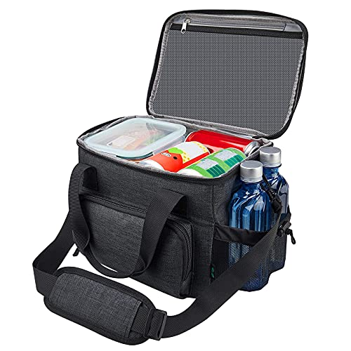 Lunch Box for Men, Insulated Lunch Bag for Men Women Adult, Reusable Lunchbox Leakproof Large Cooler Bag for Work with Shoulder Strap Black by F40C4TMP