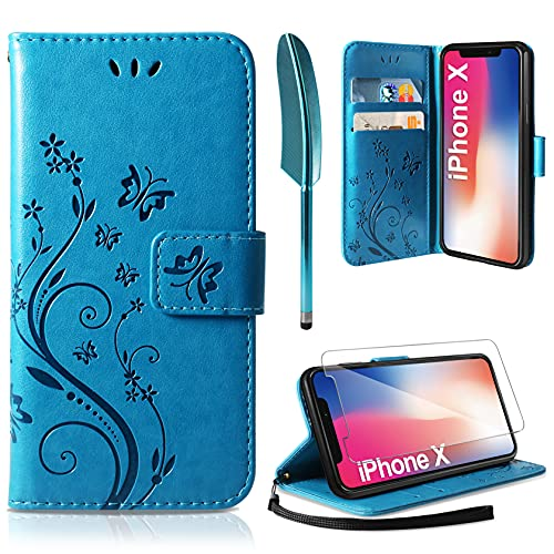 AROYI Lederhülle Kompatibel mit iPhone X/XS Hülle & Schutzfolie, Flip Wallet Handyhülle PU Leder Tasche Hülle Kartensteckplätzen Schutzhülle Kompatibel mit iPhone X/XS