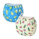 2 PCS InnoBeta Pañal de Natación, Bañador Pañal reutilizables para Bebé, pañales tela lavable para niños niñas 0-2 años(Size M), Piña Azul + Flamenco