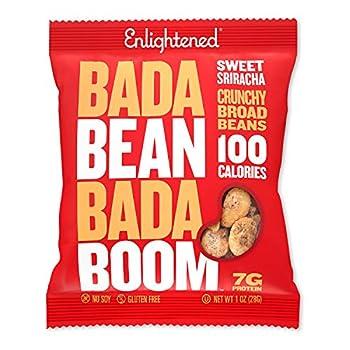 Bada Bean Bada Boom - Plant-Based Protein Gluten Free Vegan Crunchy Roasted Broad  Fava  Bean Snacks 100 Calories per Serving Sriracha 1 oz 24 Pack