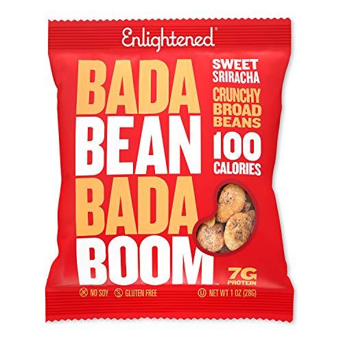 Bada Bean Bada Boom Plant-based Protein, Gluten Free, Vegan, Non-GMO, Soy Free, Kosher, Roasted Broad Fava Bean Snacks, 100 Calories per Bag, Sweet Sriracha, 1 Ounce (24 Count)