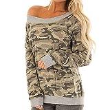 Pull Femme Sweat-Shirt Militaire,Koly Camouflage Tops Manches Longues Sweatshirt Femme Haut à épaules dénudées Sexy Automne Haut Ado Filles Pullover Sweat Chemisier Manteau vêtements Hiver Femmes