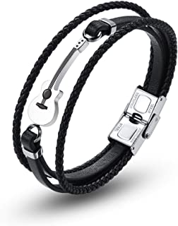 Mens Leather Bracelet Braided Wristband Cuff Music Treble Clef Rope Valentines Punk Gift for Him (Guitar-Black)
