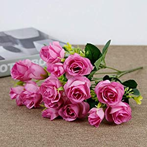 Artificial and Dried Flower 15 Heads Rose Artificial Flowers Bride Silk Small Head Fake Bouquet for Home Wedding Decoration Memorial Day Faux Flowers – ( Color: Light Prupel )