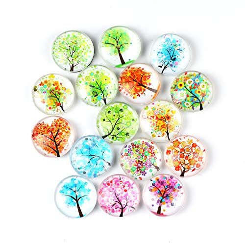 Spring Winter Summer Autumn Tree Refrigerator Magnet Party Set of 16 Pack 3D Round Face Silver Fridge Office Dry Erase Board Stainless Steel Door Freezer Whiteboard Cabinet Magnetic Great Fun for Girl