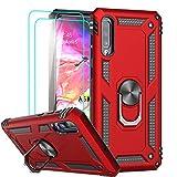 LeYi Funda Samsung Galaxy A70 / A70s Armor Carcasa con 360 Anillo iman Soporte Hard PC y Silicona TPU Bumper antigolpes Fundas Carcasas Case para movil A70 con HD Protector de Pantalla,Rojo