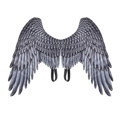 iSpchen - Alas de ángel 3D para niños, adulto, disfraz de Halloween, mardi gras, alas de hada, demonio de plumas, para Navidad, carnaval, Halloween, fiesta