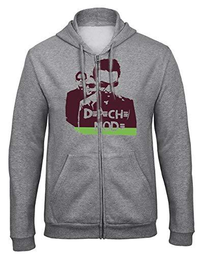 zagorka Depeche Mode Rockband Rock Music Legends Grau Kapuzenpullover Hooded Sweatjacken mit Full Zip Reißverschluss -9508 - GR