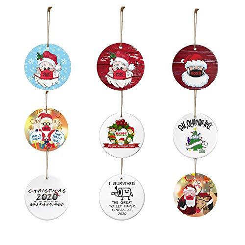 9 Stück Holzweihnachtsanhänger können verwendet werden, um Weihnachtsbäume, Schaufenster usw. zu schmücken, um die festliche Atmosphäre von Weihnachten und farbgemischten Outfits hinzuzufügen (E)