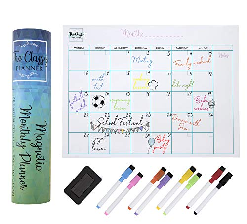 Monthly Magnetic Fridge Planner – Perfect for Home Schooling A3 Whiteboard Calendar – Perfect Family Organiser Memo Board with 8 Dry Wipe Markers and Gift Box Included by The Classy Planner