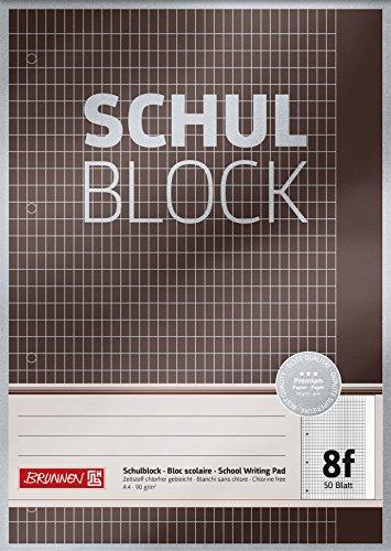 Brunnen 1052608 Schulblock/Notizblock Premium, A4, 50 Blatt, 5 x 7 mm rautiert mit Rand, Lineatur 8f, gelocht, kopfverleimt, 90g/m²