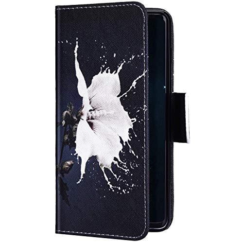 Uposao Kompatibel mit Samsung Galaxy S20 Hülle Leder Wallet Schutzhülle Brieftasche Hülle Bunt Retro Muster Flip Case Leder Tasche Handytasche Magnet Ständer Kartenfächer,Weiß Blumen