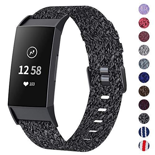 XIMU Armband Kompatibel mit Fitbit Charge 3 Armband/Charge 3 SE Armband, gewebter weicher atmungsaktiver Stoff Ersatzarmbänder Gurt Sportzubehör für Frauen, Männer (Holzkohle, L)