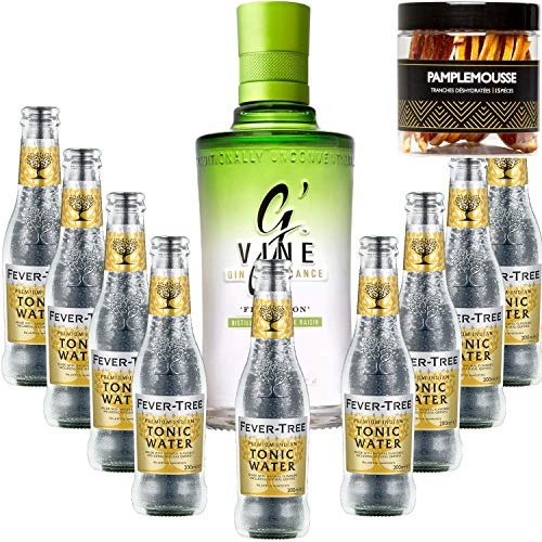 Paquete Gintonic - G'Vine + 9 Fever Indian Tree Premium Agua - (70cl + 9 * 20 cl) + Pot 15 rebanadas de pomelo secado