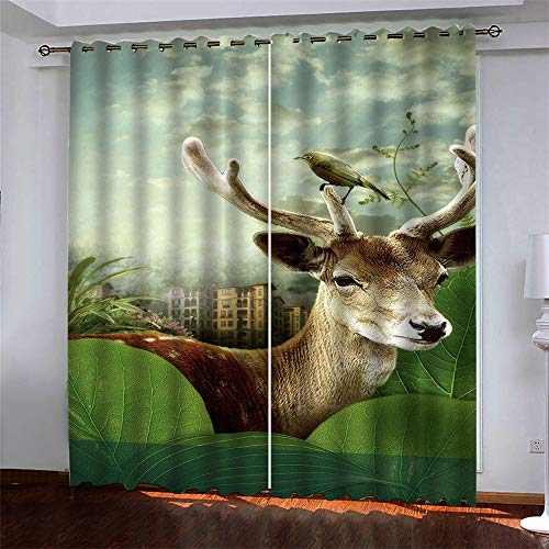 MMHJS European-Style Simple And Versatile Style 3D Deer Printing Curtains, Polyester Quick-Drying Curtains, Blackout Gauze Curtains For Living Room And Bedroom, Bay Window 2 Pieces
