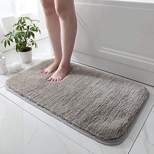 Tapis de Bain Antidérapant - Tapis de Douche | Tapis Salle de Bain, WC,Toilette,Sortie de Douche | Epais,Absorbant & Moelleux | Microfibre (Gris 80x50 cm)