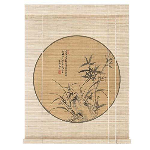 H.ZHOU Rollo Bambú Bambú Bambú Cortina Cortina Romana Persianas Imprimir Patrón Suave Perrero Sol Balcón Aisle Sala De Viño, Decoración Parasol G5105 (Color : C, Size : 60x180cm)