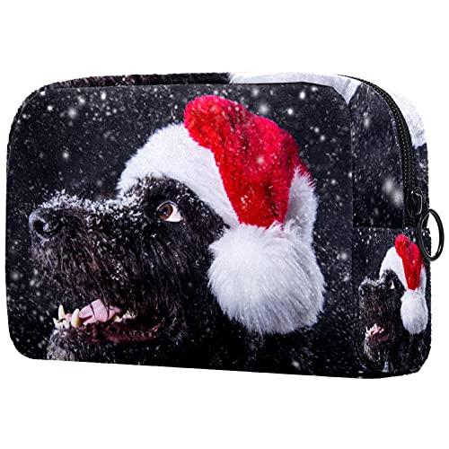 FURINKAZAN Invierno Snow Dog con sombrero de Navidad bolsa de maquillaje de viaje para artículos de tocador bolsa de maquillaje bolsa hombres y mujeres