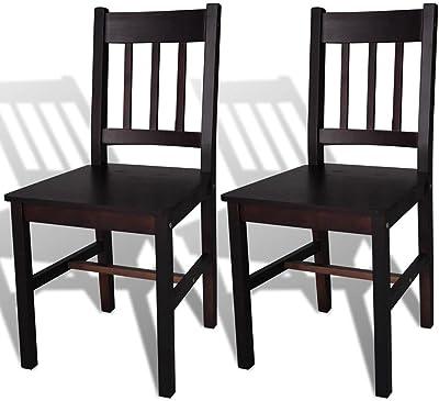 vidaXL Dining Chairs 2 pcs Dark Brown Pinewood