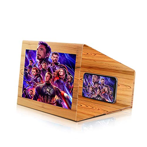 Newseego Phone Screen Magnifier,12 Inch Phone Magnifying Screen, 3D Screen Enlarger Projector Foldable Stand Holder, Movie & Video Stereoscopic Amplifying Screen for All Smartphone – Wood Pattern