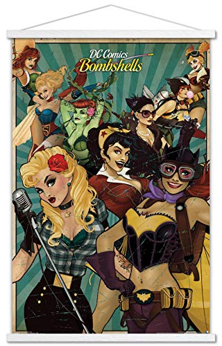 """Trends International DC Comics - Bombshells Wall Poster with Wooden Magnetic Frame, 22.375"""" x 34"""", Premium Print and White Hanger Bundle"""