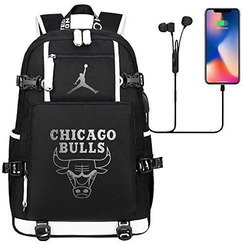 GXB Herren Sportrucksack Multifunktionale Basketball Star Rucksack Fashion Casual College Style Schultasche NBA Athlet Michael Jordan Schwarz