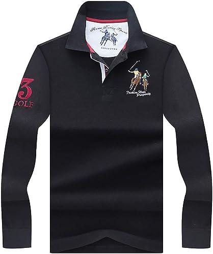 W&TT T-Shirt à Manches Longues à Manches Longues en Coton à Manches Longues pour Hommes,noir,XXL