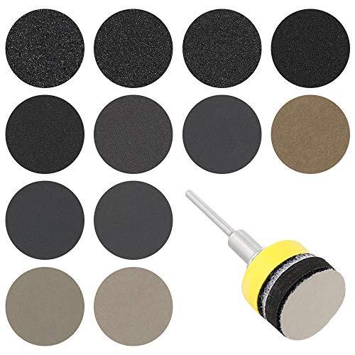 180pc 1/3 pulgada 60-10000 Grit Sandpaper Sanding Disc Dry Seco Seco Hojas de lijadora con almohadilla de lijado Set de lijado abrasivo-_1 pulgada 25 mm