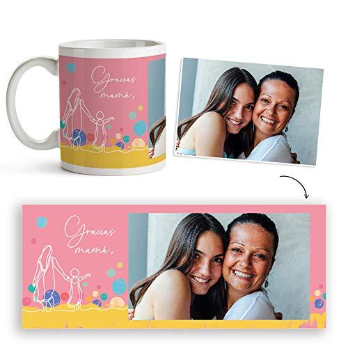 Fotoprix Taza Personalizada con Foto para Mamá | Regalo Día de la Madre | Varios diseños Disponibles. (Diseño: Gracias mamá)