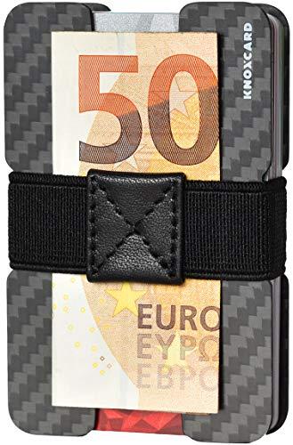 KNOXCARD Tarjetero para Tarjetas de fidelidad de identificación de crédito - Cartera Minimalista - Billetera - Cartera secundaria para viajes y salidas - RFID Fibra de Carbono (Negro y Azul)