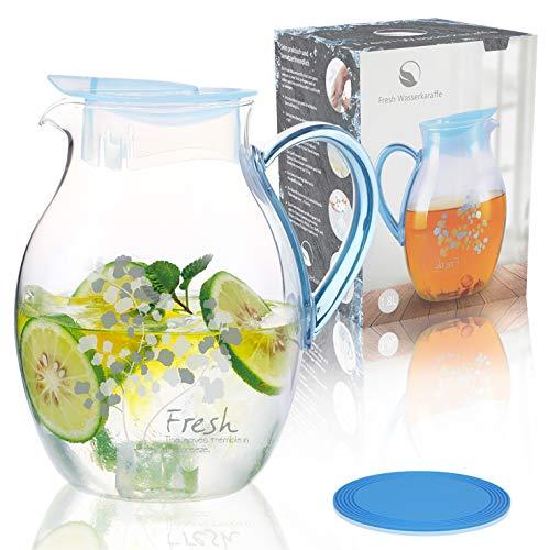 Fresh Wasserkaraffe Set, Glaskaraffe, 1,8 Liter mit Ideal dazu passendem PVC Untersetzer /LFGB ZERTIFIZIERT / 100% SICHERES PRODUKT und eine SMARTE INVESTITION