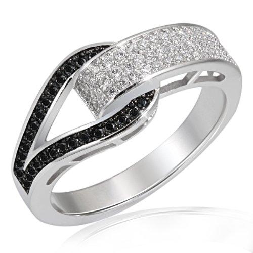 Goldmaid Damen-Ring Schnalle 925 Sterlingsilber 79 Zirkonia schwarz-Weiß Gr. 58