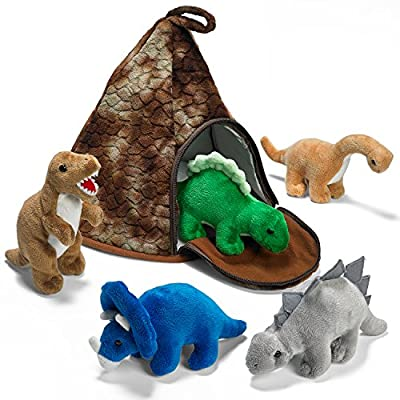 Prextex Dinosaur Volcano House with 5 Plush Dinosaurs Great for Kids Plush Toys for Toddlers by Prextex