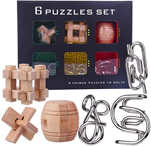 ZHUYU Rompecabezas, Metal 3D del Rompecabezas 3D de Madera Puzzle Bloqueo Conjunto IQ Test Juguetes for Adultos de los niños