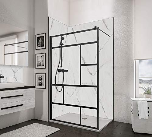Schulte D369110-F 68 1660 Paroi de douche fixe à l'italienne, Walk In, verre de sécurité décor Atelier, profilé à clipser noir, 120 x 200 cm