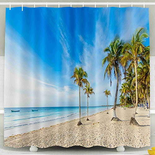KIOAO Farmhouse Shower Curtain Liner Fabric,Paradise Beach Also Called Sunrise Beautiful Tropical Coast in Mexico Paraiso at Caribbean Tulum Quintana 78X72Inch Waterproof Extra Long Shower Curtains