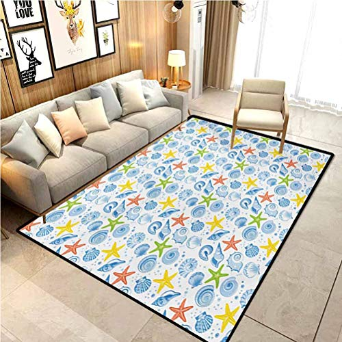 Nautical Farmhouse Rug Christmas Kitchen Rugs Marine Themed Starfish Mollusk Coral Reef Shells Oyster Underwater Design Furniture Carpet Protectors Blue and Yellow 5 x 7 Ft