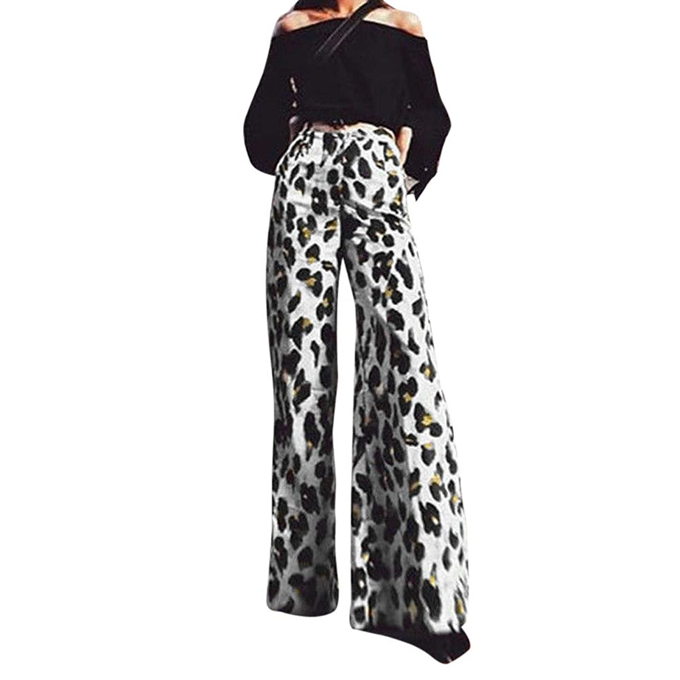 hositor Ripped Jeans for Women, Ladies Fashion Sexy Leopard Print Long Pants Elastic Waist Wide Leg Pants