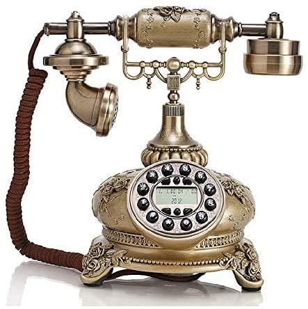 AWAING Telefonos Antiguos Vintage Sistema de teléfono de casa con botón pulsador de Estilo Antiguo con Cable, teléfono de Moda Antiguo, decoración del hogar