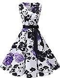 Bridesmay Women's 50s Vintage V-Neck Retro Rockabilly Swing Cocktail Party Dress White Purple Flower 2XL