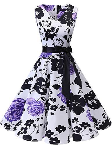 bridesmay 1950er V-Ausschnitt Kleid Vintage Cocktailkleid Rockabilly Retro Schwingen Kleid FaltenrockWhite Purple Flower 2XL