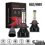HB3/9005 LED Headlight Bulb Kit For Toyota Camry Corolla 2001-2017 High Beam Lights 4-Sides COB Chips 6500K White Light 200W 20000LM Headlamps(2 Pack)