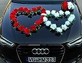 DOPPEL HERZ Auto Schmuck Braut Paar Rose Deko Dekoration Autoschmuck Hochzeit Car Auto Wedding Deko Ratan (Rot / Reinweiß)
