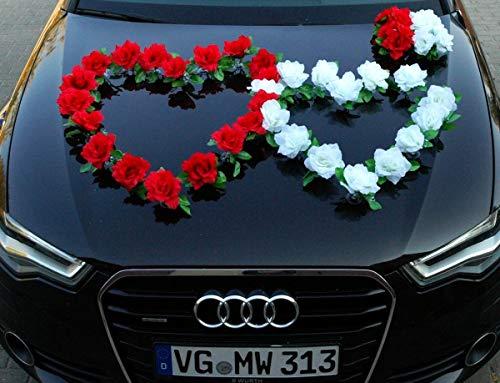 DOPPEL Herz Auto Schmuck Braut Paar Rose Deko Dekoration Autoschmuck Hochzeit Car Auto Wedding Deko Ratan (Rot/Reinweiß)
