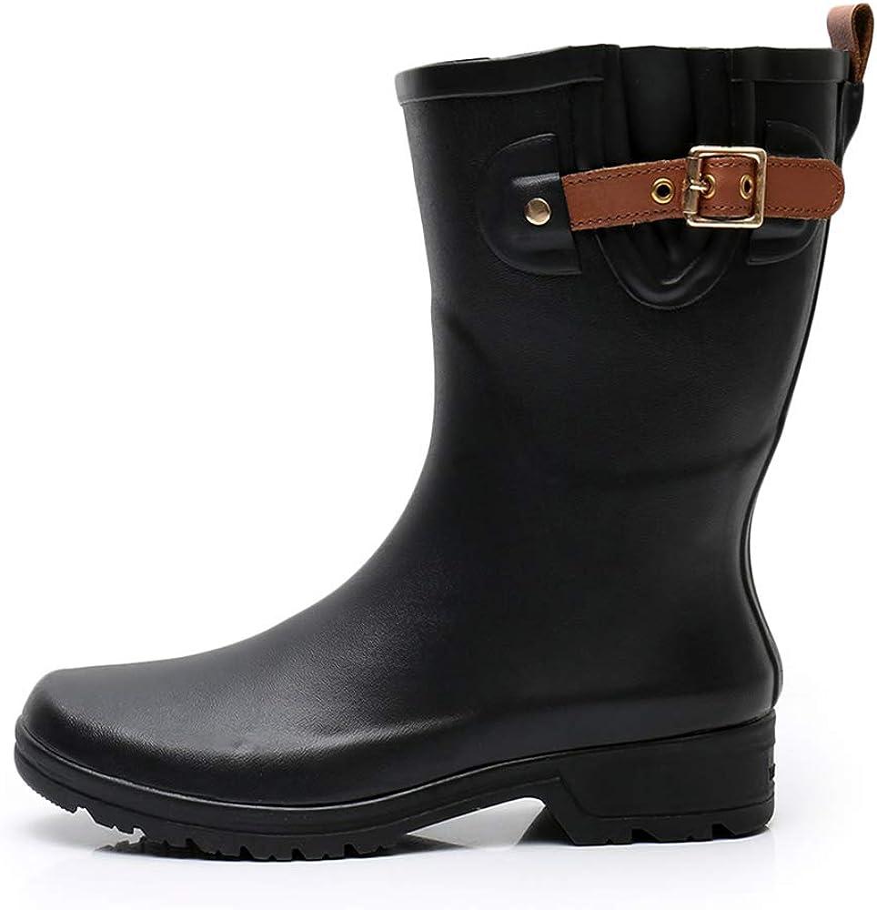 TRIPLE DEER Women's Rubber Rain Boots for Ladies, Mid-Calf Rain Shoes Warm Rain Footwear Waterproof Women Barn Boots Black