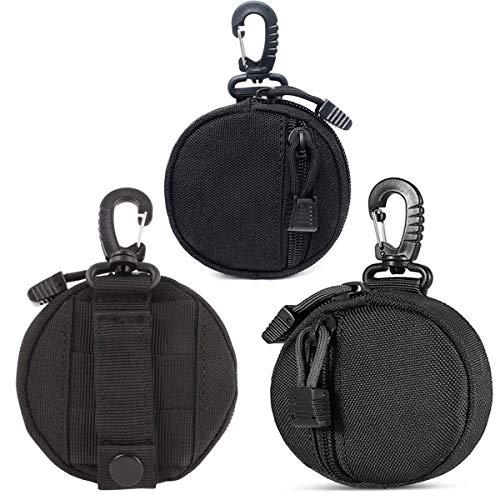 Paquete de 3 llaveros tácticos con monedero redondo, llavero profesional, bolsa de accesorios para bolsas de equipo militar, pequeño cambio, paquete de auriculares inalámbricos, color negro