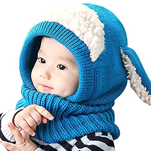 iHomey Baby Girls Boys Toddler Winter Hat Scarf Set Cutest Earflap Hood Warm Knit Hat Scarves with Ears Snow Neck Warmer Wool Skull Cap for Kids 6-36 Months