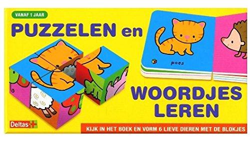 Puzzelen en woordjes leren: kijk in het boek en vorm 6 lieve dieren met de blokjes